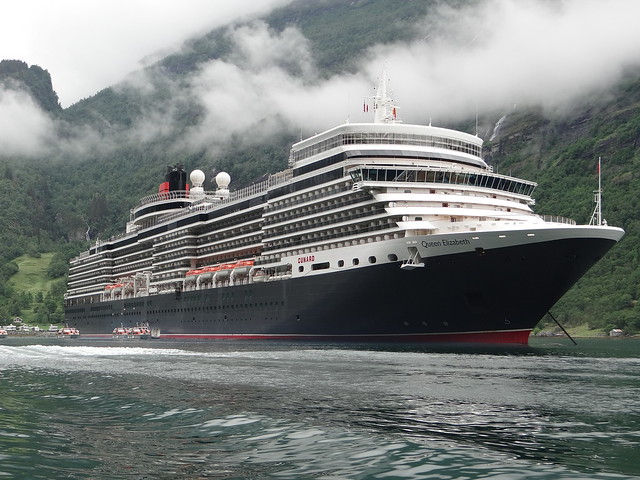 Queen Elizabeth at Geiranger Norway July 2012 - taken by http://www.TipsForTravellers.com