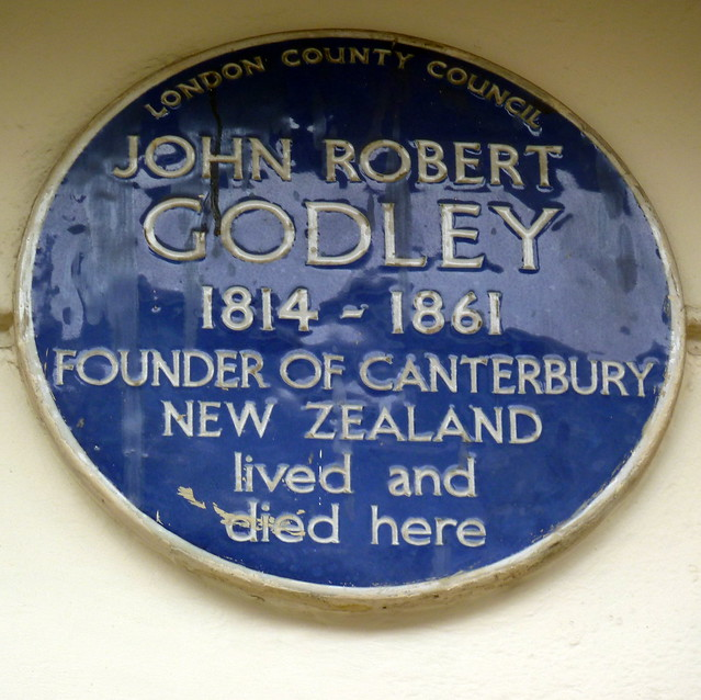 John Robert Godley blue plaque - John Robert Godley  1814–1861  Founder of Canterbury  New Zealand  lived and  died here