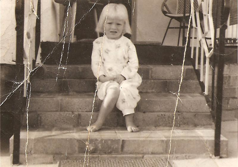 Mary-Ellen at 4 years in 1963.. blue and white flannelette pj's