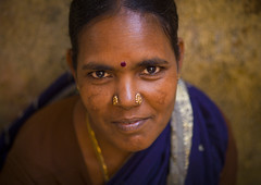 Portrait Of A Mature Woman With Bindi And Nose Piercings, Pondicherry, India