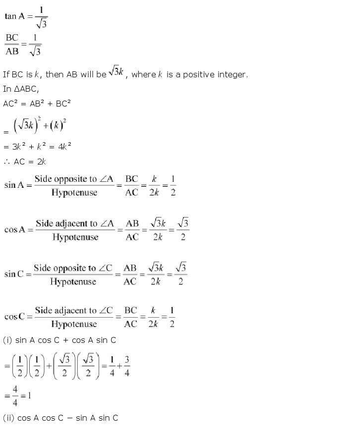 NCERT Solutions For Class 10th Maths Chapter 8 Introduction to Trigonometry Download 2018-19 New Edition PDF freehomedelivery.net