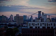 Manhattan Bridge at Magic Hour - Viewed from the Wythe Hotel - Williamsburg, Brooklyn
