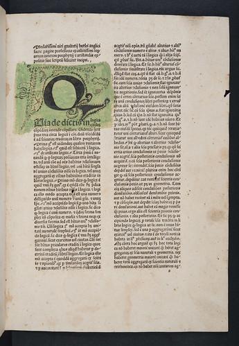 Decorated washed initial in Burlaeus, Gualtherus: Expositio in artem veterem Porphyrii et Aristotelis (without text)