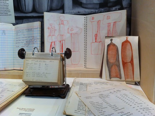 Betty Feves' sketchbooks and glaze notes at the show