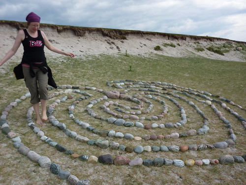 Beach pebble maze