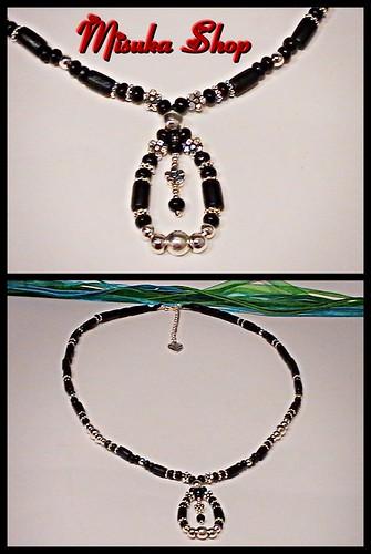 Collar Gargantilla Madera Negra Y Metal