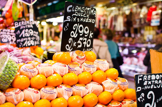 Barcelona's famous market, La Boqueria, is full of colorful, gourmet goods.