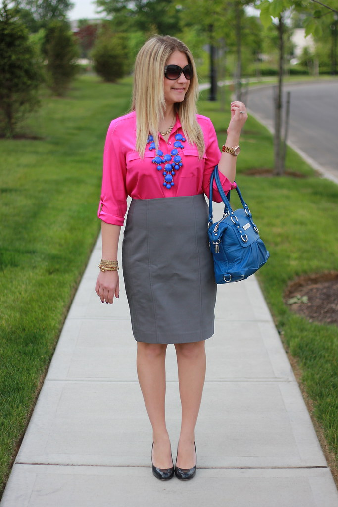 Pink, Gray, and Blue Work Outfit