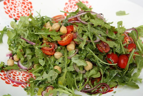 Arugula Salad with Chickpeas, Grape Tomato, Basil, and Lemon