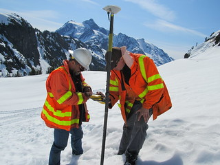 Measuring snow depths in the shadow of Mount Shuksan