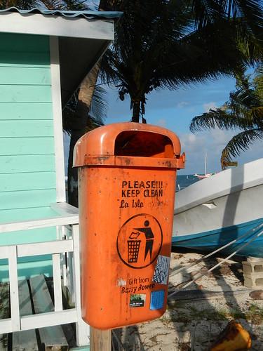 Trash receptacle on beach