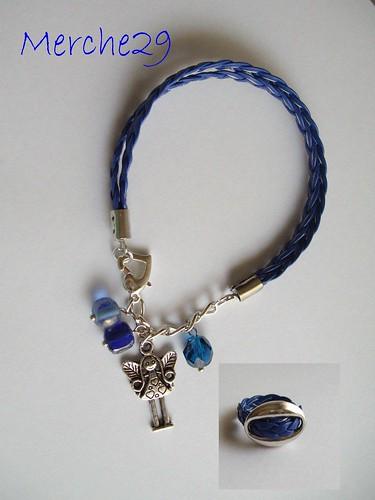 conjunto pulser y anillo en cuero sintetico, metal y swaroski by llaverito1979