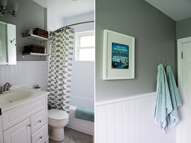 "lovely nest bathroom redesign with ""salt water"" print by mae chevrette"