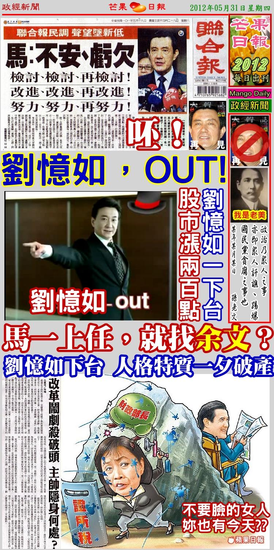 120531芒果日報頭版--政經新聞--證所稅坑殺股市,劉憶如百日下台