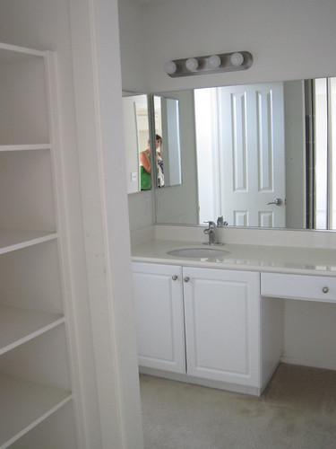 peeking into the bathroom vanity area