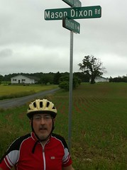 Crossing the Mason-Dixon Line into Maryland on May 22. Already 215 miles of riding!