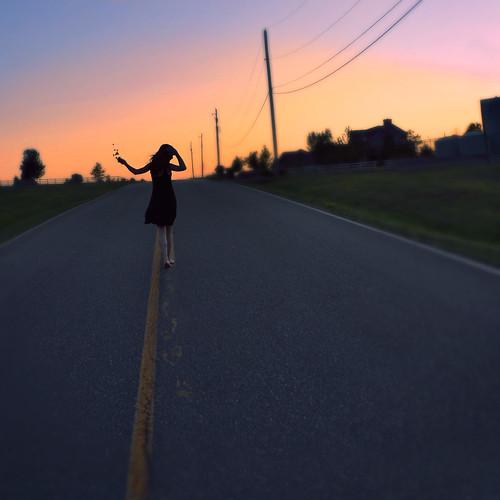 road street pink blue sunset shadow sky selfportrait blur silhouette yellow walking focus shadows silhouettes footprints running onceuponatime footsteps 365 tones yellowlines tiremarks bareilles 365project sarabareilles chelsearoden onceuponanothertime digitalclr statestreetandmarket