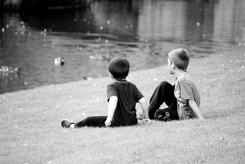 Kids watching the ducks