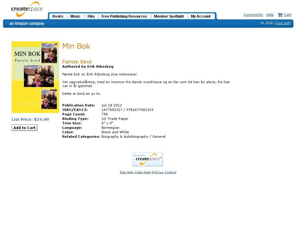 min bok første bind 796 sider