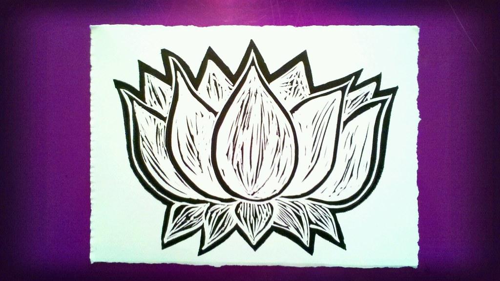 Lotus block print