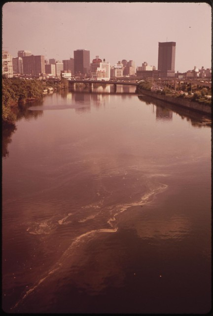DOCUMERICA: The Polluted Schuykill River And Center City In Background, August 1973 Dick Swanson.