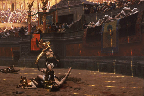 "Pollice Verso (""With a Turned Thumb""), an 1872 painting by Jean-Léon Gérôme, is a well known historical painter's researched conception of a gladiatorial combat."