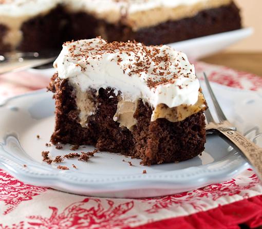 Chocolate Caramel Peanut Poke Cake