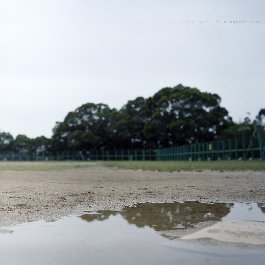 baseball field in the rain