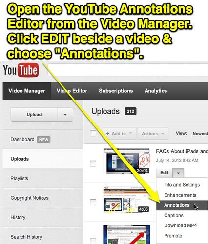 Choose YouTube Annotations in the Video Manager