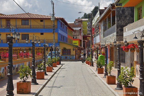 Typical street in the very colourful Guatapé pueblito, Colombia