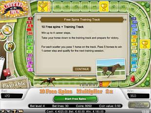 Champion of the Track bonus game