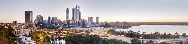 Perth Central Business District from above the Aboriginal Art Gallery, Kings Park