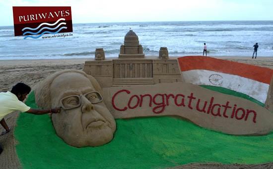 Sudarshan Pattnaik congratulate Mr. Pranab Mukherjee Through Sand Art