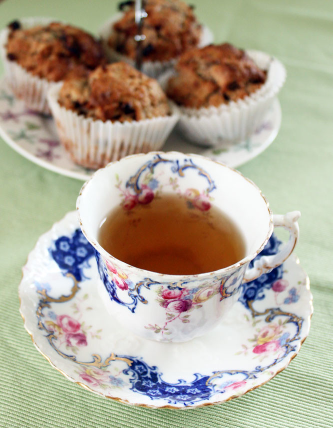 Rhubarb Muffins with cup of Tea