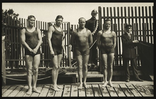 Australasian swimming team, winners of the freestyle relay, Olympic Games, Stockholm, 1912.