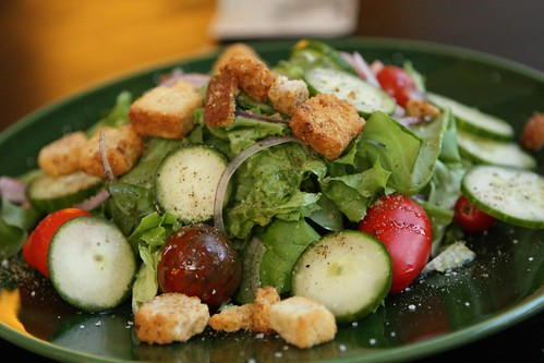 Gotham Greens with Cucumbers, Lauren's Garden Tomatoes, Red Onion, and Croutons