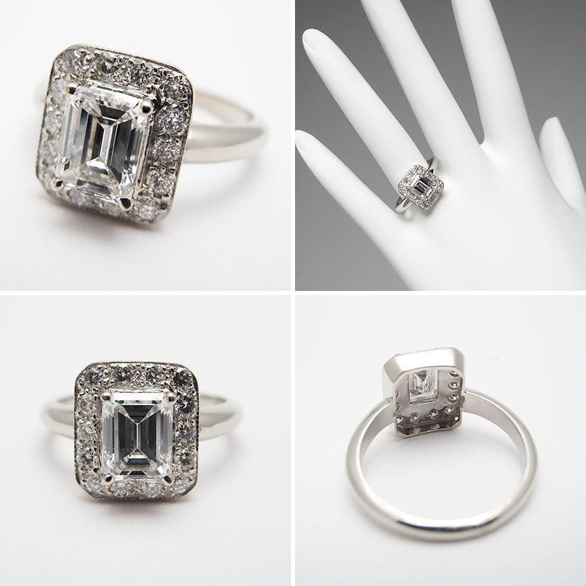 HALO STYLE EMERALD CUT VS DIAMOND ENGAGEMENT RING SOLID 18K WHITE GOLD