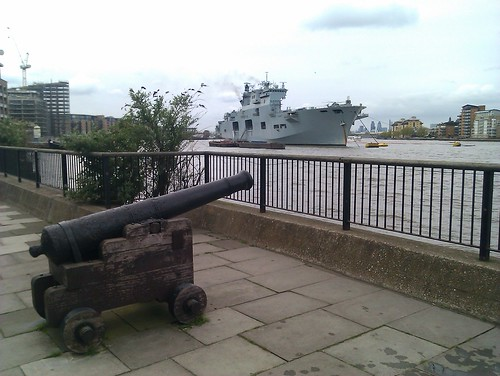 HMS Ocean and an old cannon