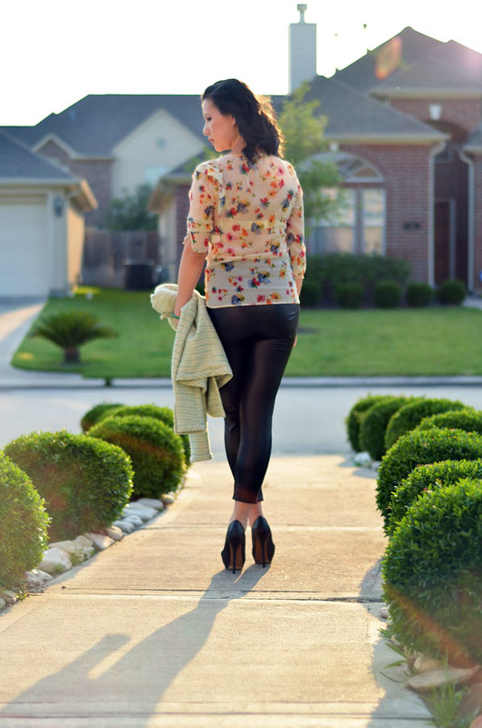 floral print top with leather leggings