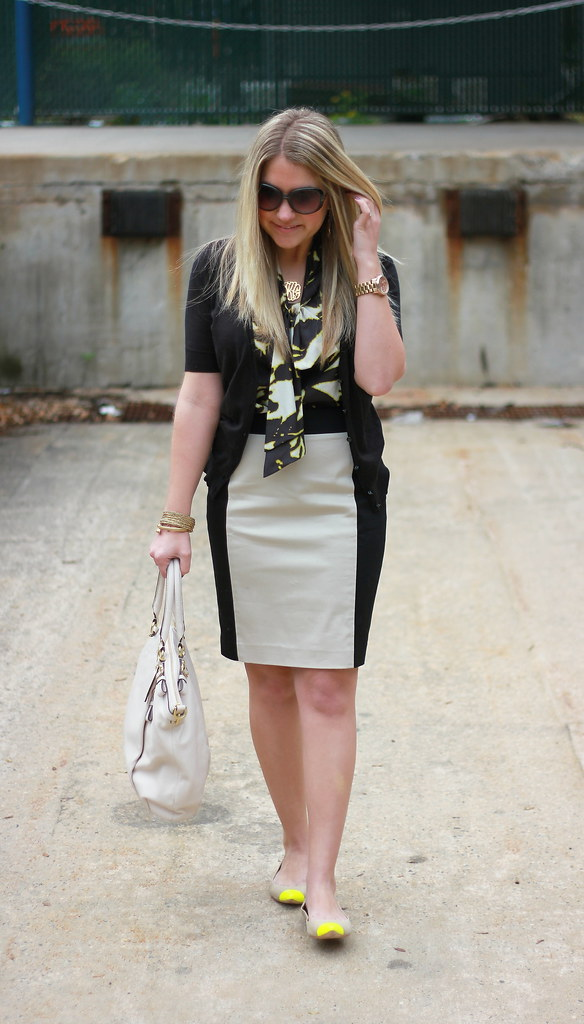 Professional Style: Colorblock Pencil Skirt Outfit