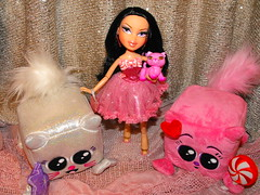 textile, purple, plush, stuffed toy, pink, doll, barbie, toy,