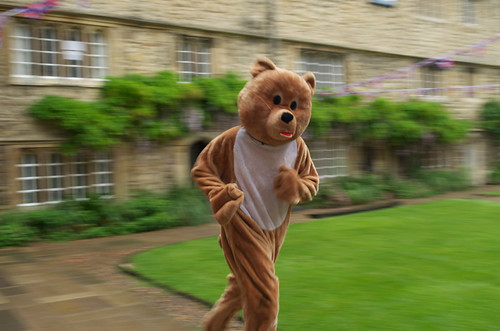Running in a bear costume