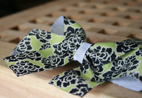Green floral hairbows
