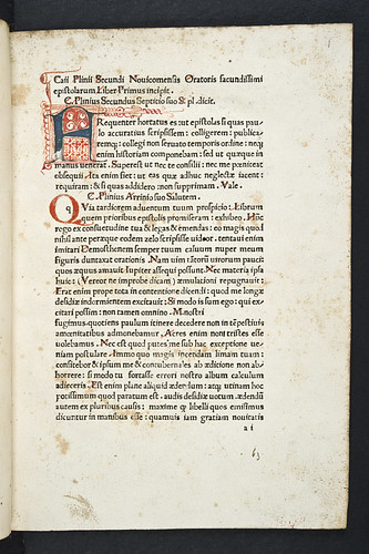 Penwork initial in Plinius Secundus, Gaius Caecilius (Pliny, the Younger): Epistolae