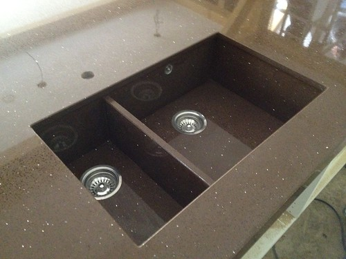 Quartz Stone Kitchen Sink : Recently SPM Granite installed this Brown mirror Quartz island with 75 ...