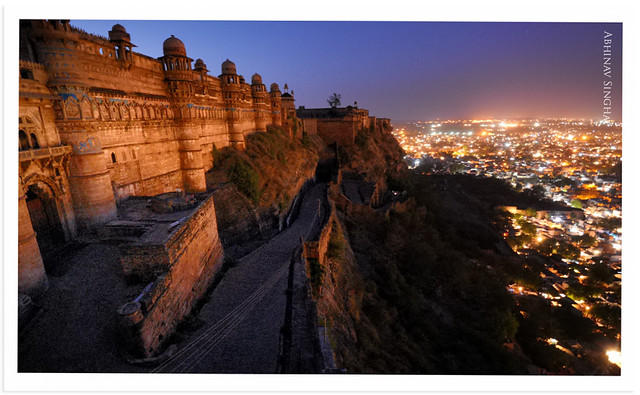 Gwalior fort and city at Night