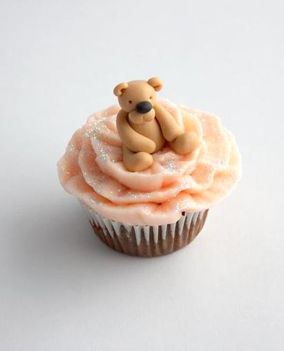 Cute pink teddy cupcake