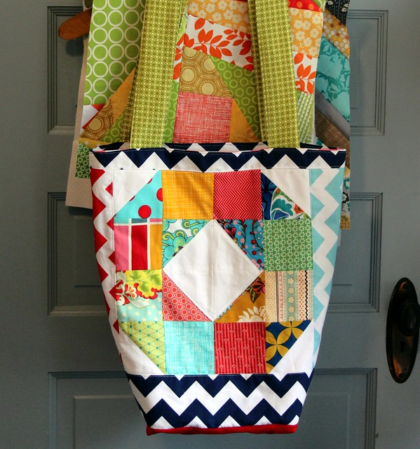 Patchwork Wheel Quilt Block Tote Bag