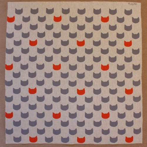 grey kitty cats - orange fat quarter screen print