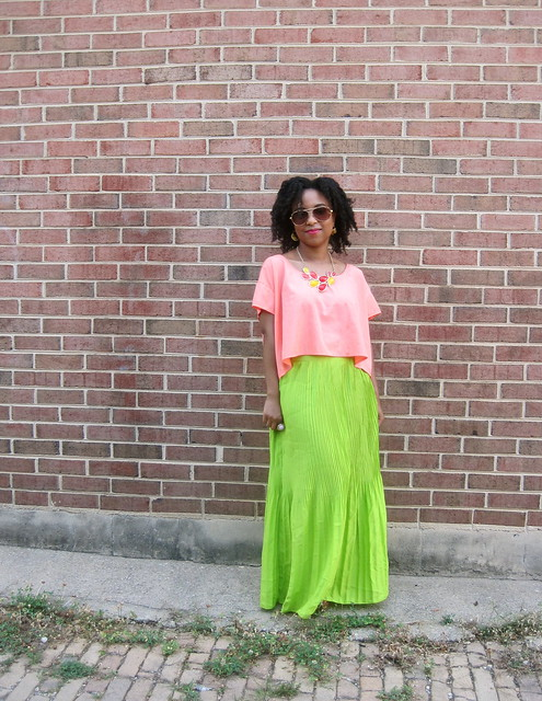 peach top and neon maxi 2